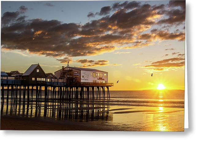 Sunrise At The Pier Greeting Card by Shared Perspectives Photography - Jason Baldwin