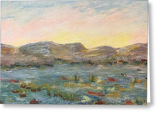 Greeting Card featuring the painting Sunrise At The Pond by Norma Duch