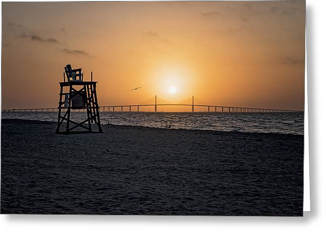 Sunrise At The Skyway Bridge Greeting Card