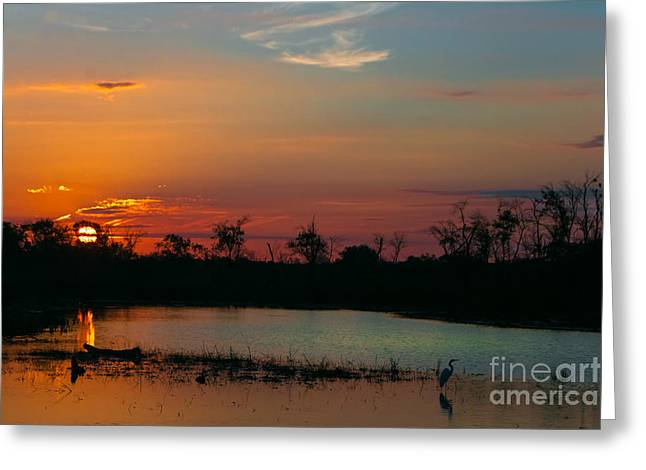 Sunrise At The Spillway Greeting Card by Robert Frederick