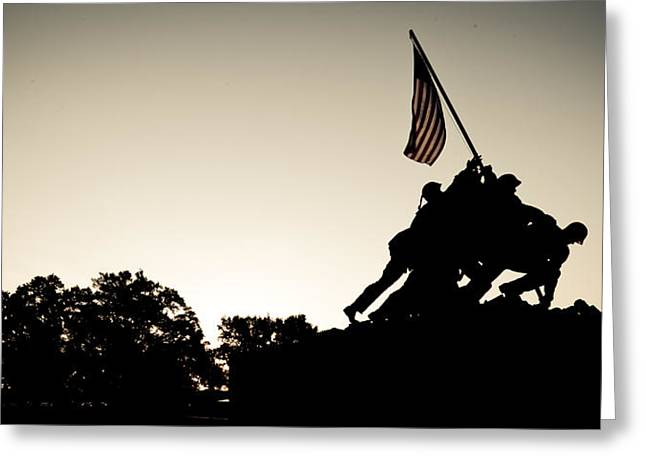 Sunrise At The U. S. Marine Corps War Memorial Greeting Card by David Hahn