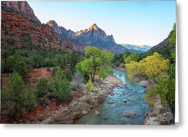 Sunrise At The Watchman - Zion National Park - Utah Greeting Card by Brian Harig