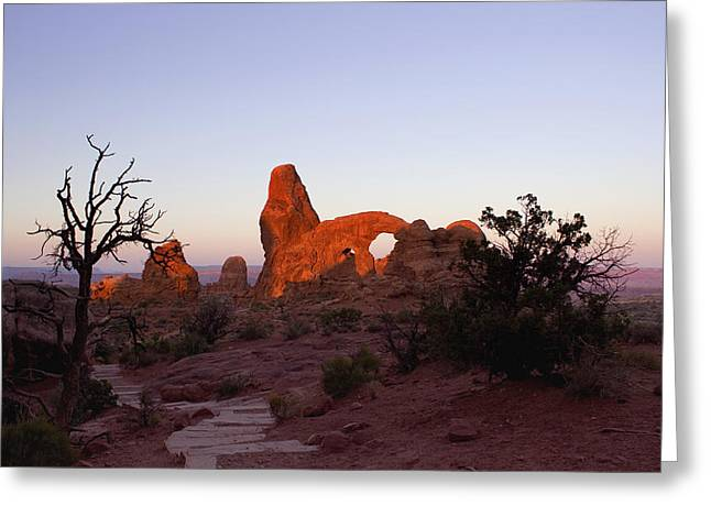 Sunrise At Tower Arch Greeting Card by Ellen Heaverlo