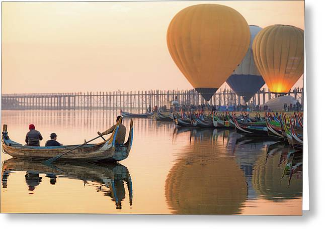 Sunrise At U Bein Bridge  Greeting Card by Anek Suwannaphoom