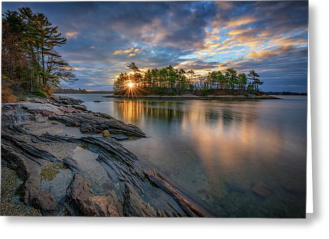 Sunrise At Wolfe's Neck Woods Greeting Card by Rick Berk