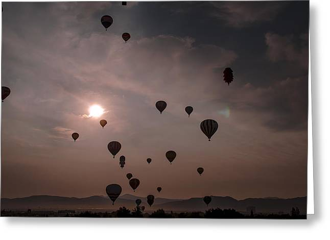 Sunrise Balloons Greeting Card by Rick Mosher