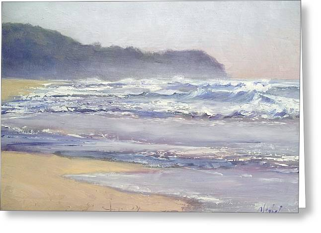 Greeting Card featuring the painting Sunrise Beach Sunshine Coast Queensland Australia by Chris Hobel