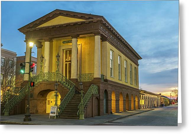 Sunrise Behind The Daughters Of The Confederacy Aka Old Slave Market Greeting Card by Willie Harper