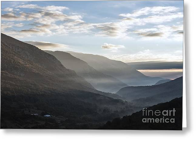 Sunrise Between The Mountains Of The Abruzzo National Park Greeting Card