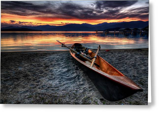 Sunrise Boat Greeting Card by Matt Hanson