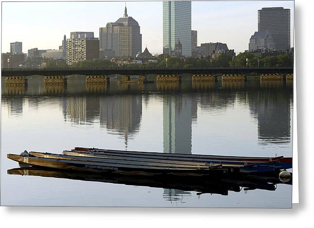 Sunrise Boats Greeting Card by Mimi Katz