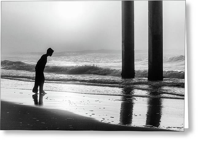 Greeting Card featuring the photograph Sunrise Boy In Foggy Beach by John McGraw