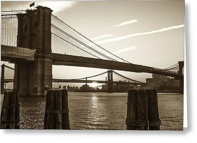 Sunrise - Brooklyn And Manhattan Bridges In Sepia Greeting Card