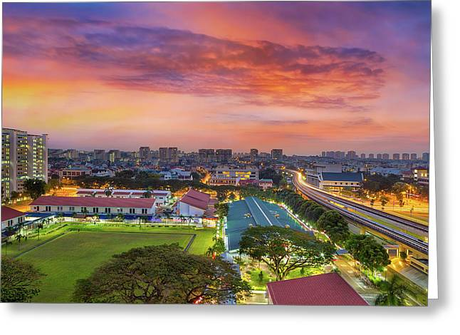 Sunrise By Mrt Station In Eunos Singapore Greeting Card