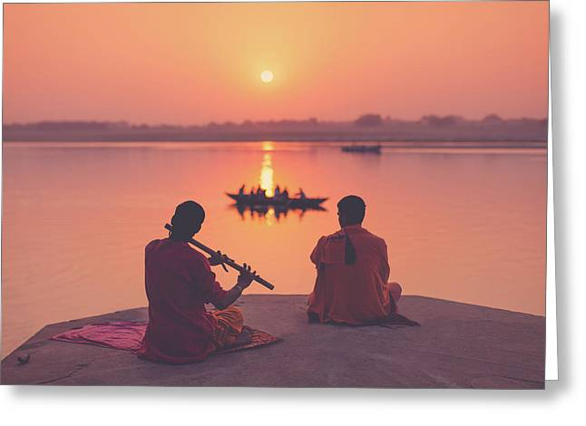 Sunrise By The Ganges Greeting Card by Marji Lang