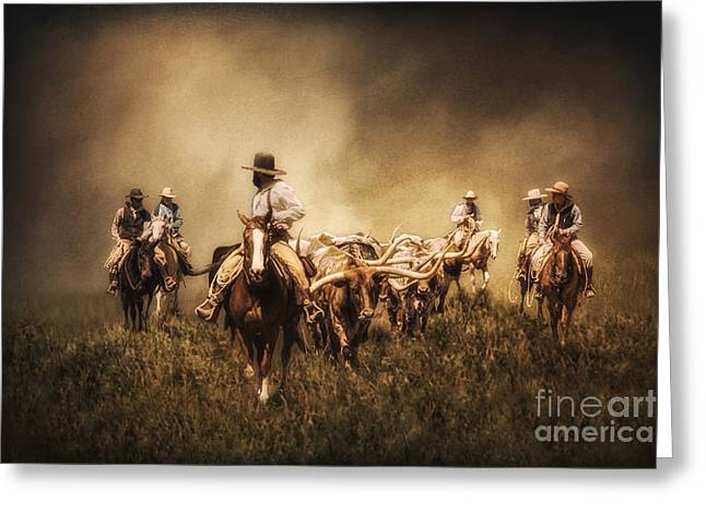 Sunrise Cattle Drive Greeting Card