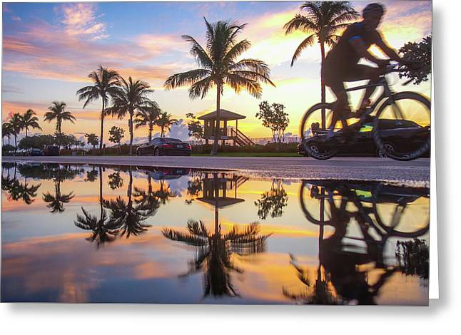 Sunrise Cyclist Delray Beach Florida Greeting Card