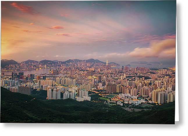 Sunrise Day To Night Shot  Hong Kong And Kowloo Greeting Card by Anek Suwannaphoom