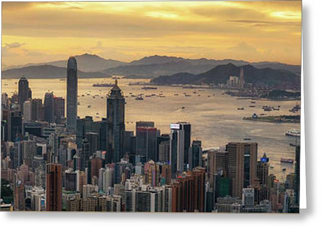 Sunrise Day To Night Shot Over Victoria Harbor  Greeting Card by Anek Suwannaphoom
