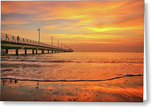 Sunrise Delight On The Beach At Shorncliffe Greeting Card