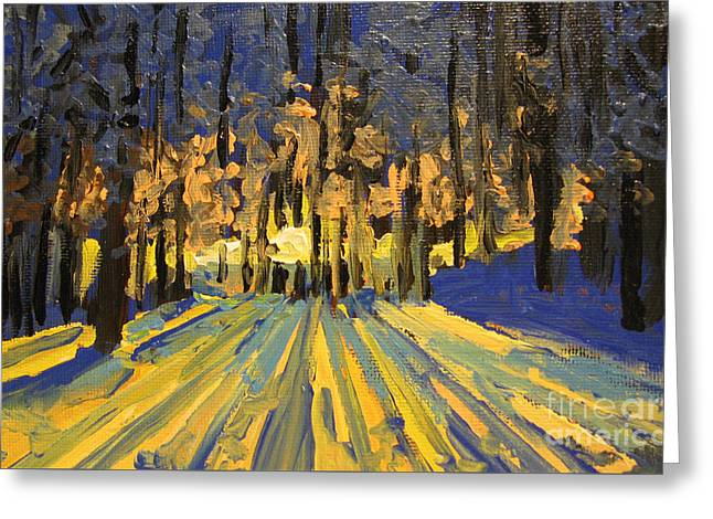 Greeting Card featuring the painting Sunrise Forest Modern Impressionist Landscape Painting  by Patricia Awapara