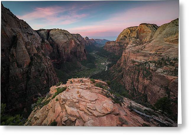Sunrise From Angels Landing Greeting Card by James Udall