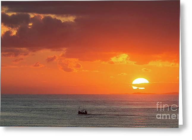 Sunrise From Holy Island Greeting Card