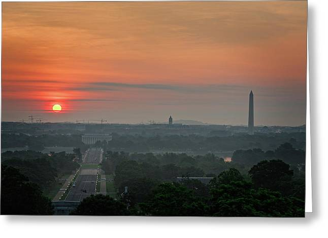 Greeting Card featuring the photograph Sunrise From The Arlington House by Cindy Lark Hartman