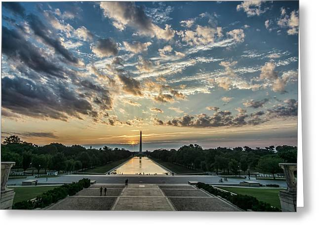 Sunrise From The Steps Of The Lincoln Memorial In Washington, Dc  Greeting Card