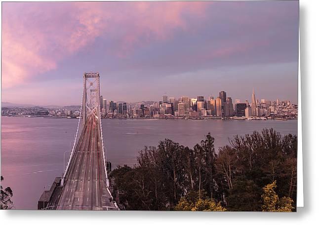 Sunrise From Treasure Island Of San Francisco Greeting Card