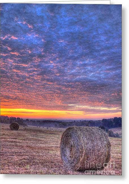 Sunrise Hayfield And A View Walker Church Road Greeting Card by Reid Callaway