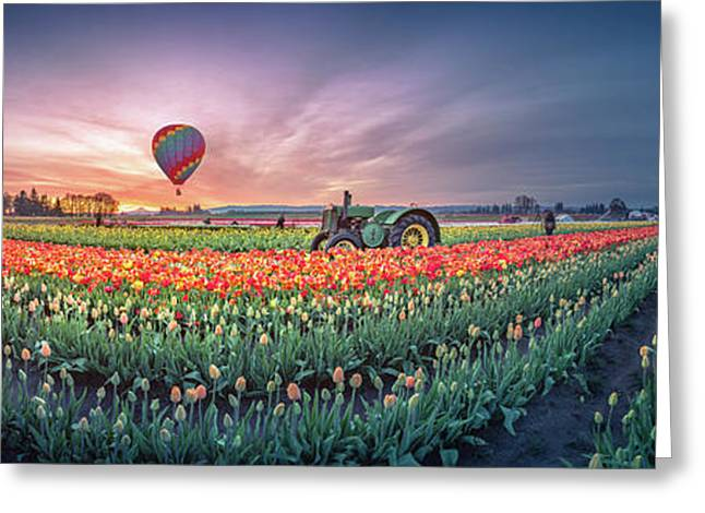 Greeting Card featuring the photograph Sunrise, Hot Air Balloon And Moon Over The Tulip Field by William Lee