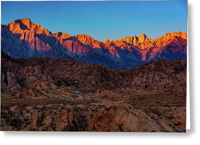 Greeting Card featuring the photograph Sunrise Illuminating The Sierra by John Hight