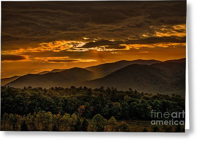 Sunrise In Cades Cove Great Smoky Mountains Tennessee Greeting Card
