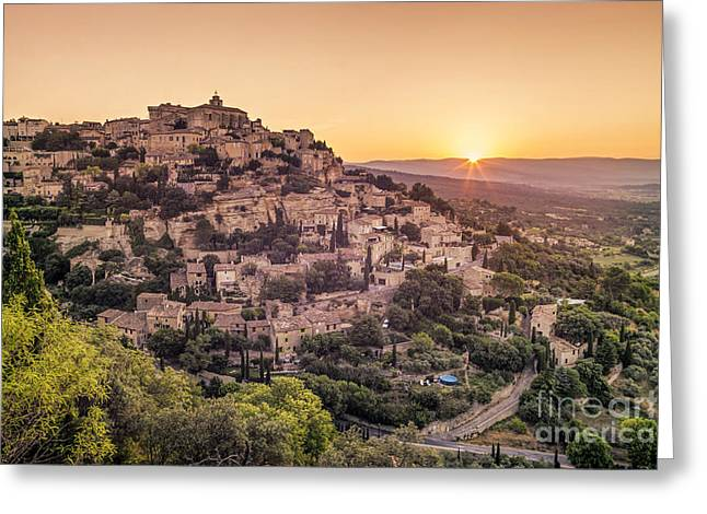 Greeting Card featuring the photograph Sunrise In Gordes Provence  by Juergen Held