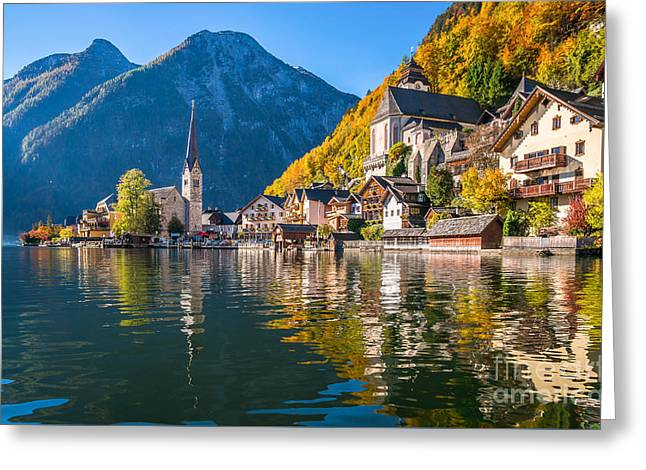 Sunrise In Hallstatt Mountain Village With Colorful Autumn Landscape Greeting Card