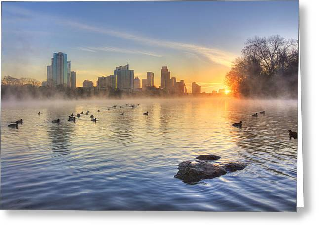 Sunrise In January Over Austin Texas 5 Greeting Card