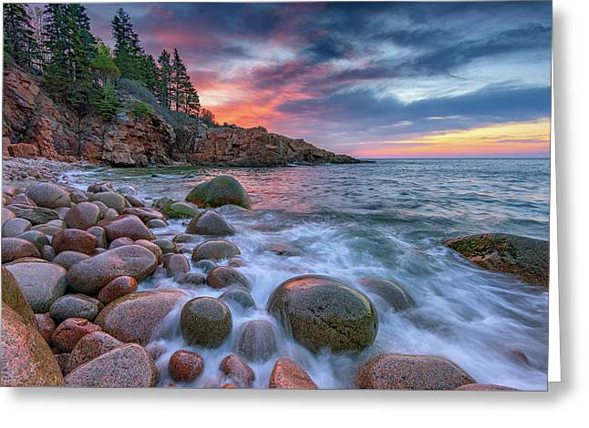 Sunrise In Monument Cove Greeting Card by Rick Berk