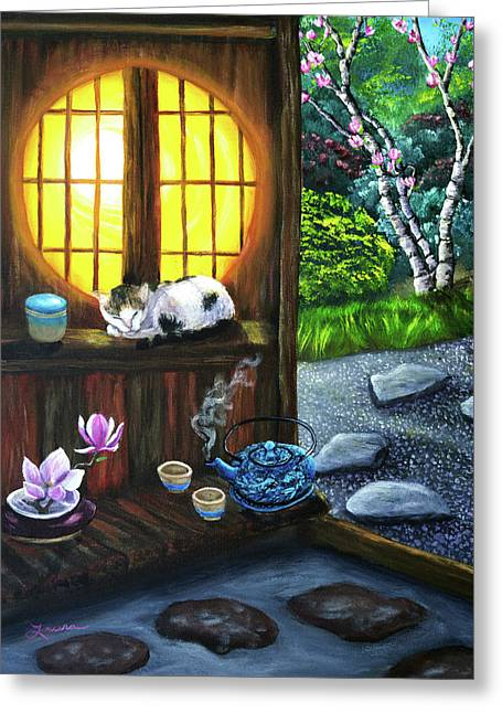 Sunrise In Moon Window Greeting Card by Laura Iverson