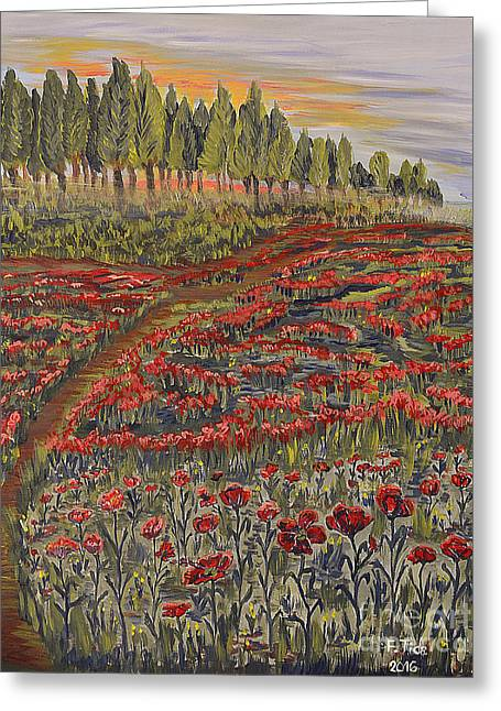 Sunrise In Poppies Field Greeting Card
