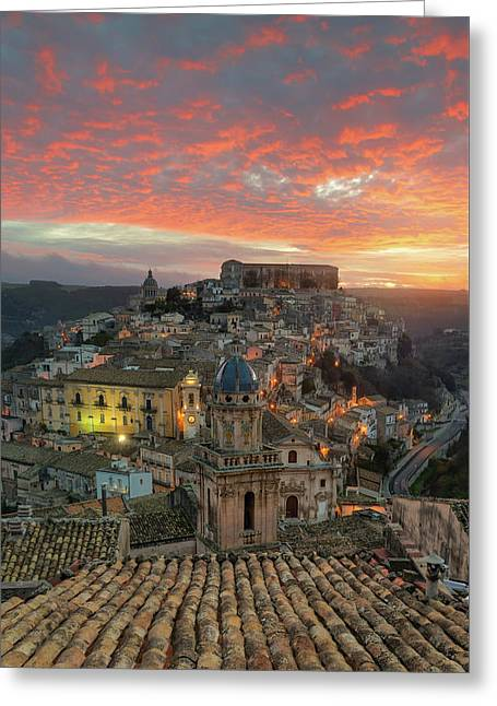 Greeting Card featuring the photograph Sunrise In Ragusa Ibla by Mirko Chessari