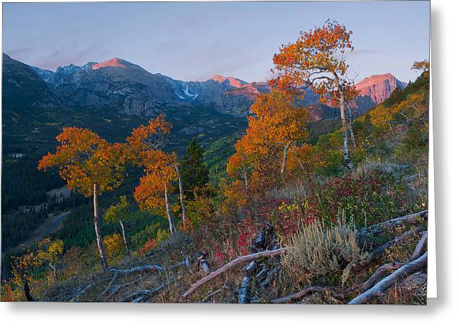 Sunrise In Rocky Mountain National Park Greeting Card by Aaron Spong