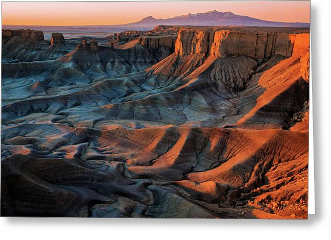 Greeting Card featuring the photograph Sunrise In The Badlands. by Johnny Adolphson