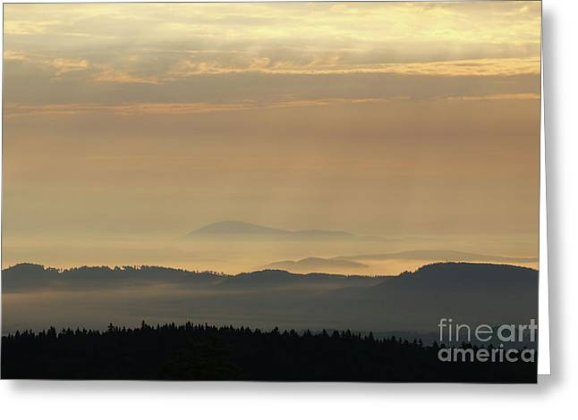 Sunrise In The Mountains - Hills In Morning Mist Greeting Card by Michal Boubin