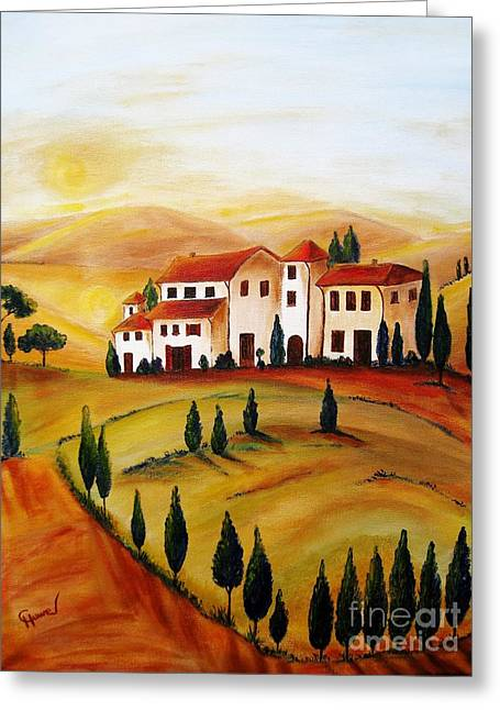 Sunrise In Tuscany Greeting Card by Christine Huwer