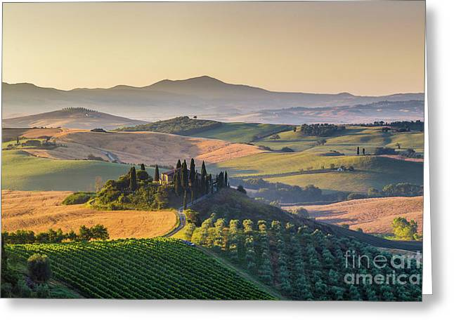 Sunrise In Tuscany Greeting Card by JR Photography