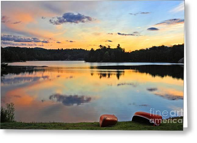 Sunrise Killarney Provincial Park Greeting Card by Charline Xia