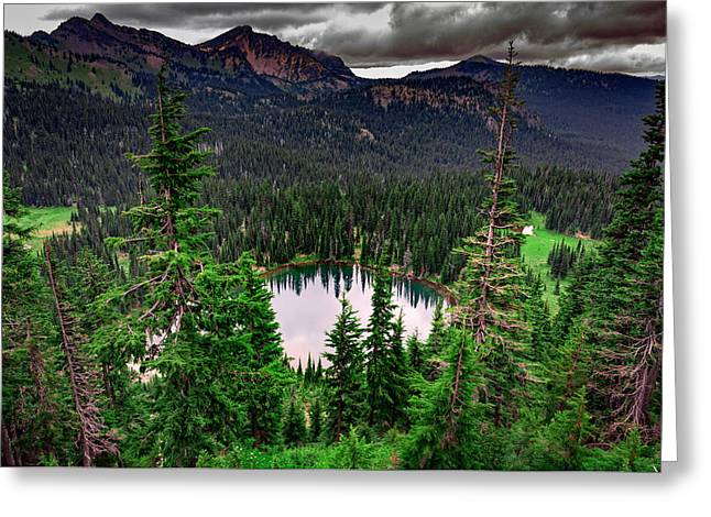 Sunrise Lake On A Cloudy Day Greeting Card
