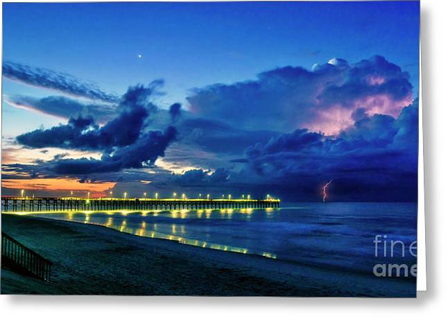 Greeting Card featuring the photograph Sunrise Lightning by DJA Images