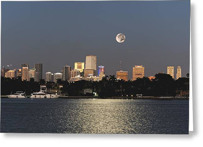 Moonrise Over Miami Greeting Card